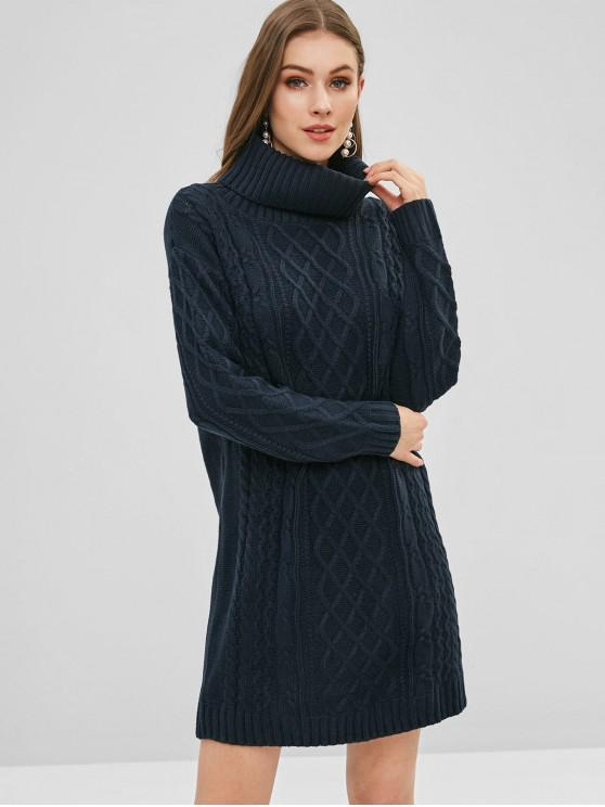 Vestido de camisola de malha de gola alta - Azul da Meia Noite 2XL