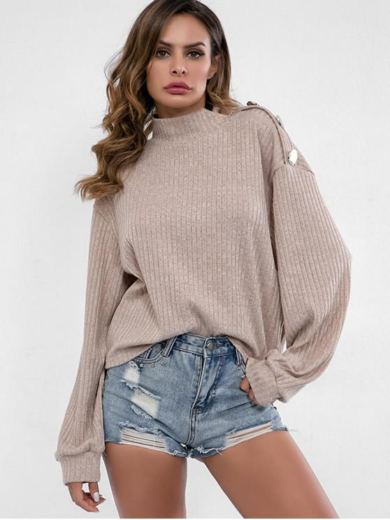 ladies High Neck Buttons Embellished Sweater - KHAKI M