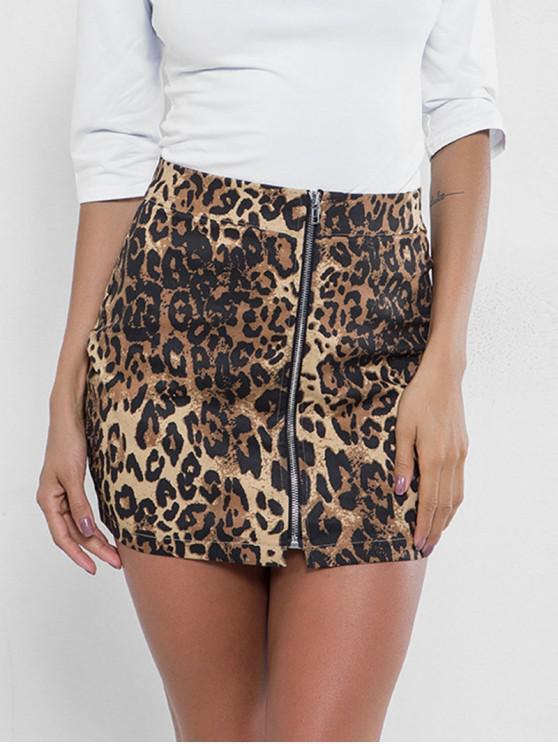 Saia da cópia do leopardo da parte dianteira do fecho de correr - Leopardo S