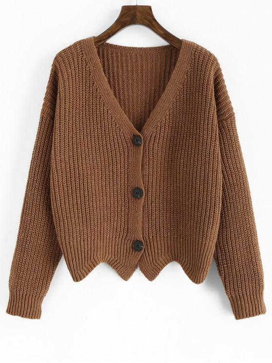 outfits Scalloped Chunky Cardigan - LIGHT BROWN ONE SIZE