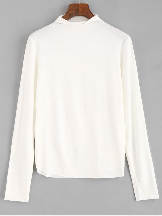best High Collar Long Sleeve Tee - WHITE ONE SIZE