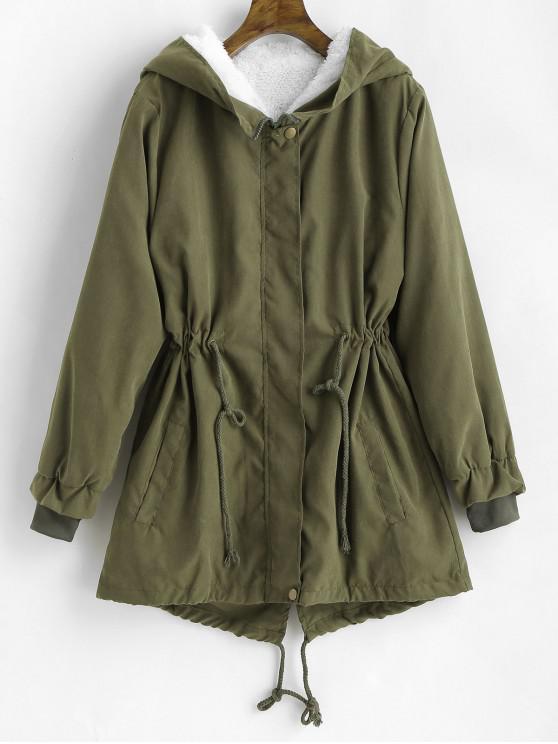 womens Hooded Fleece Linging Back Slit Coat - ARMY GREEN M
