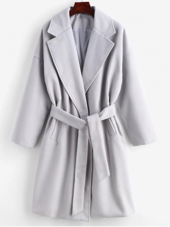 sale Tie Belt Faux Wool Winter Coat - GRAY GOOSE L