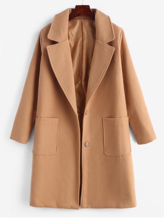 Botão de pressão de lã falso casaco masculino - Camelo Marrom 1XL
