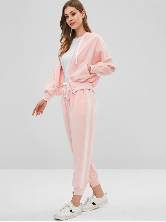 trendy Zip Up Hoodie and Joggers Pants Tracksuit - PIG PINK S