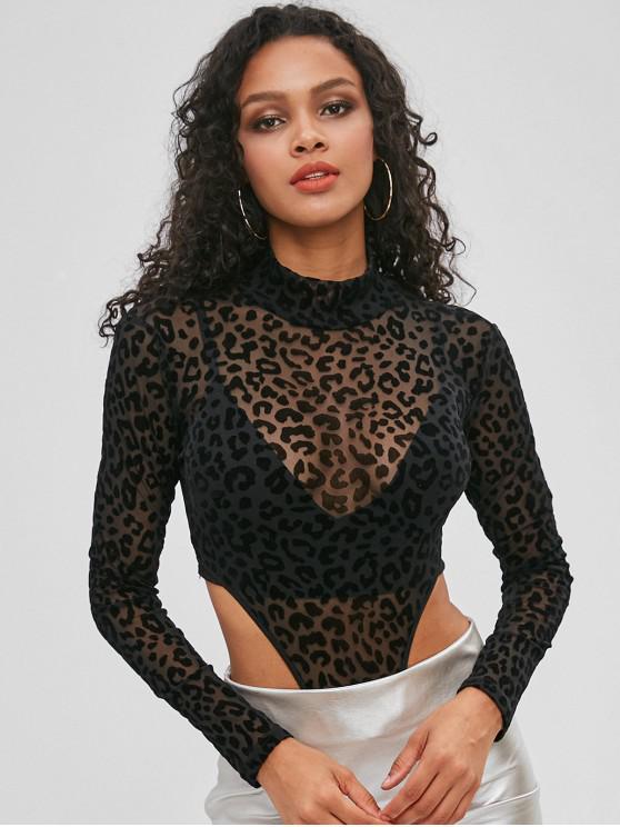 Leopardo Flocked Snap Virilha Tanga Bodysuit - Preto L