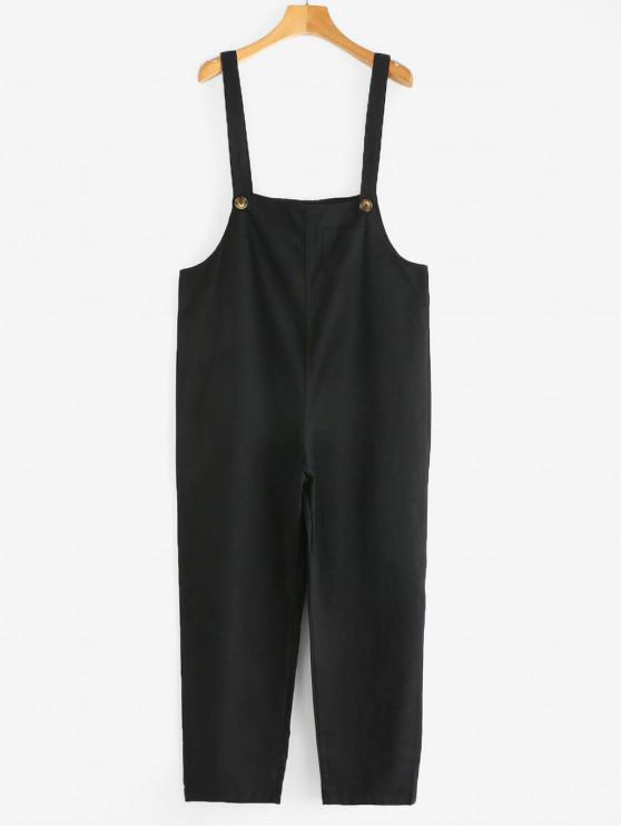 womens Patch Pockets Buttoned Twill Overalls - BLACK M