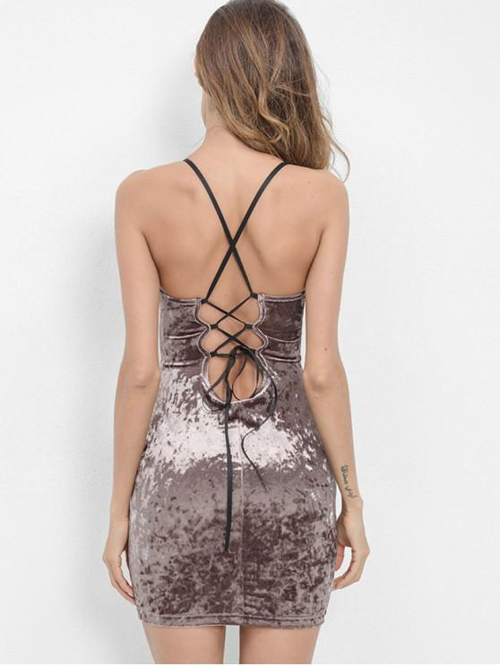 shop Criss Cross Bodycon Velvet Cami Dress - PUCE M