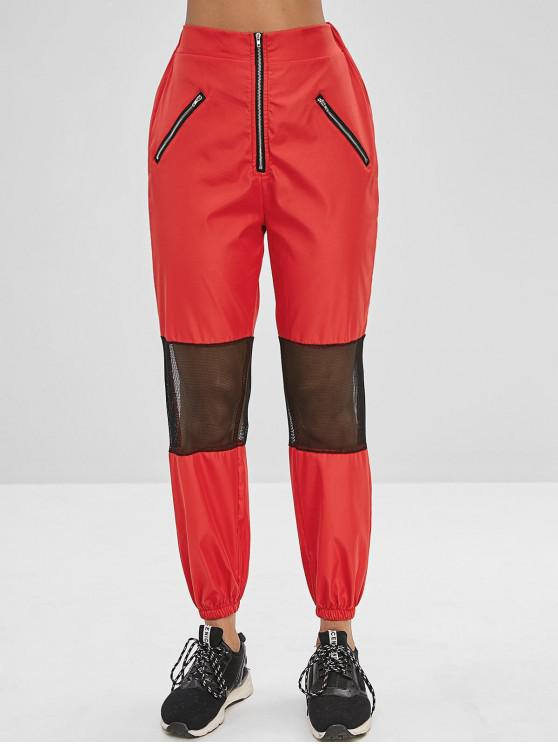 online Zippered Mesh Insert Jogger Pants - CHESTNUT RED XL