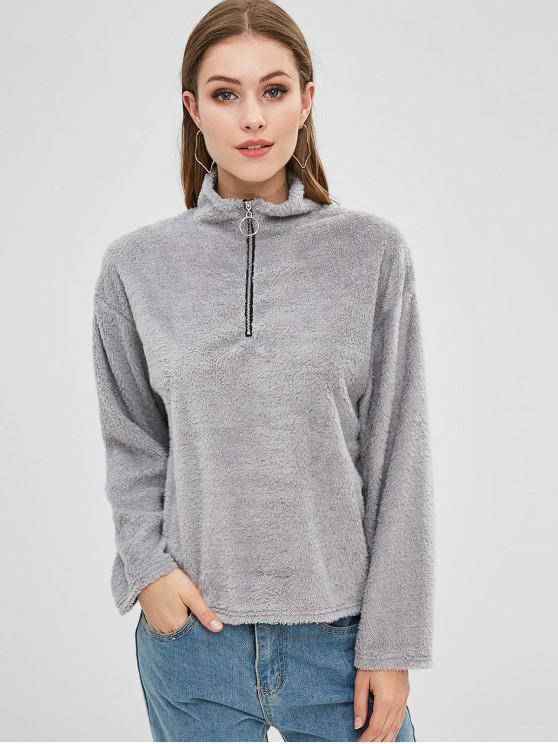 shop Half Zip Fluffy Teddy Sweatshirt - GRAY CLOUD XL