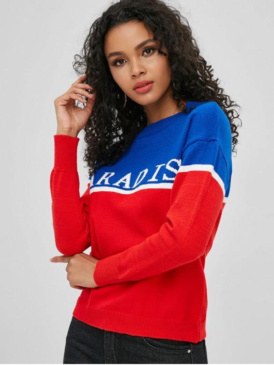 women's Letter Color Block Drop Shoulder Sweater - MULTI-A ONE SIZE