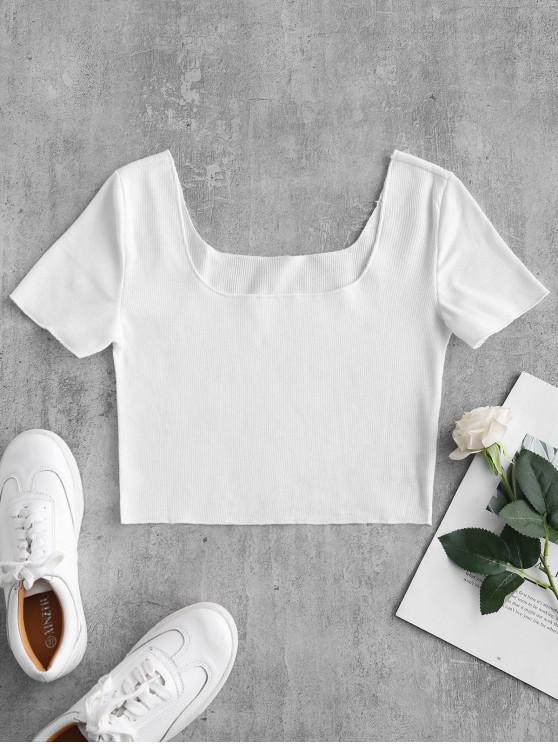 affordable Ribbed Short Sleeve Crop Top - WHITE S