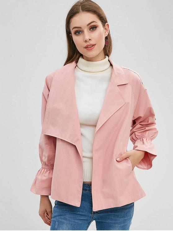 hot Raglan Sleeve Skirted Belted Jacket - LIGHT PINK S