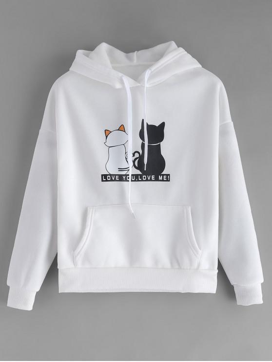 buy Fleece Lined Pocket Cat Print Hoodie - WHITE L