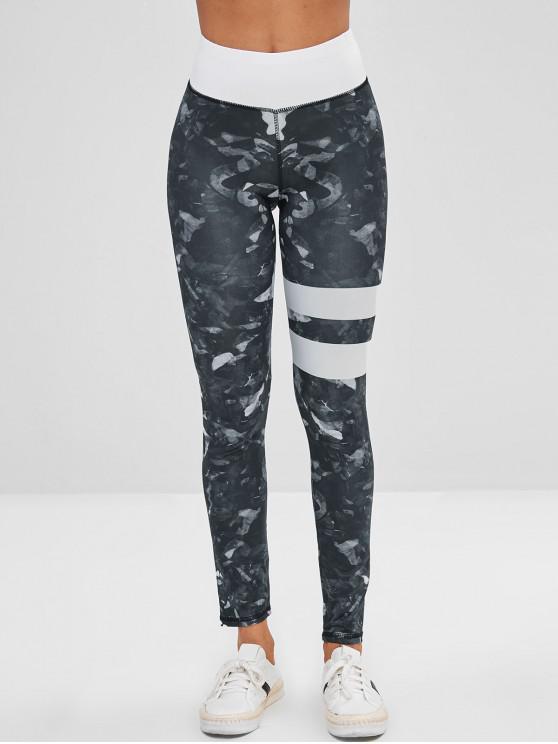 best Printed Striped Layer Leggings - MULTI-A L