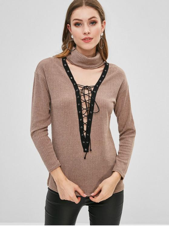 outfit Lace-up Turtleneck Knit Sweater - LIGHT KHAKI S