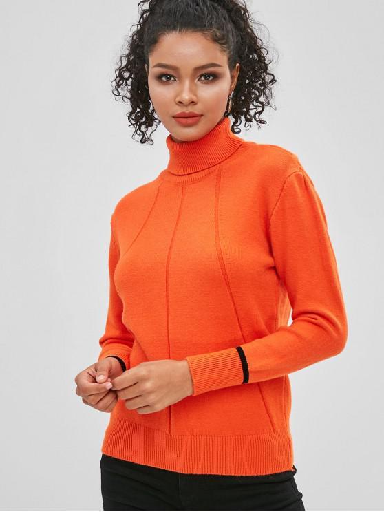 الياقة المدورة اللون كتلة البلوز البلوز - القرع البرتقال حجم واحد