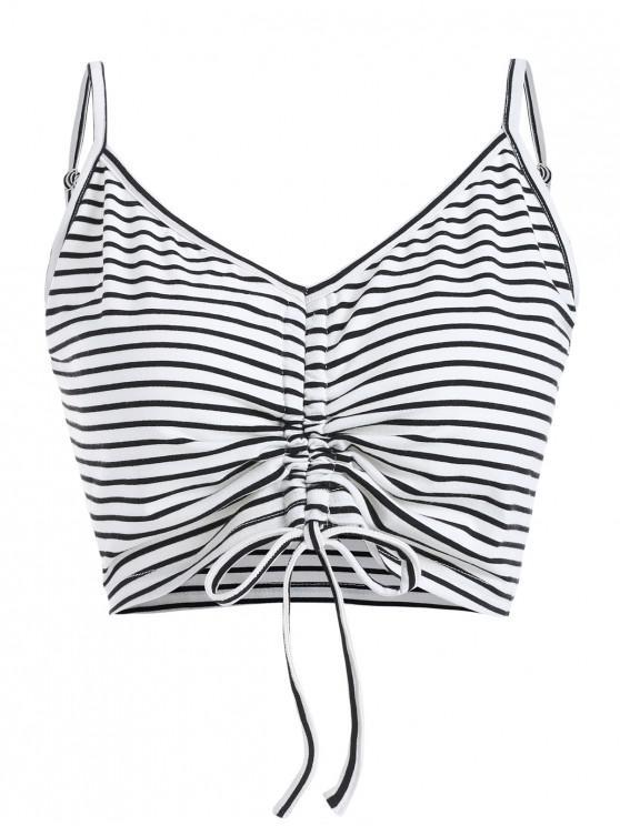 ladies ZAFUL Cami Cinched Stripes Tank Top - MILK WHITE M