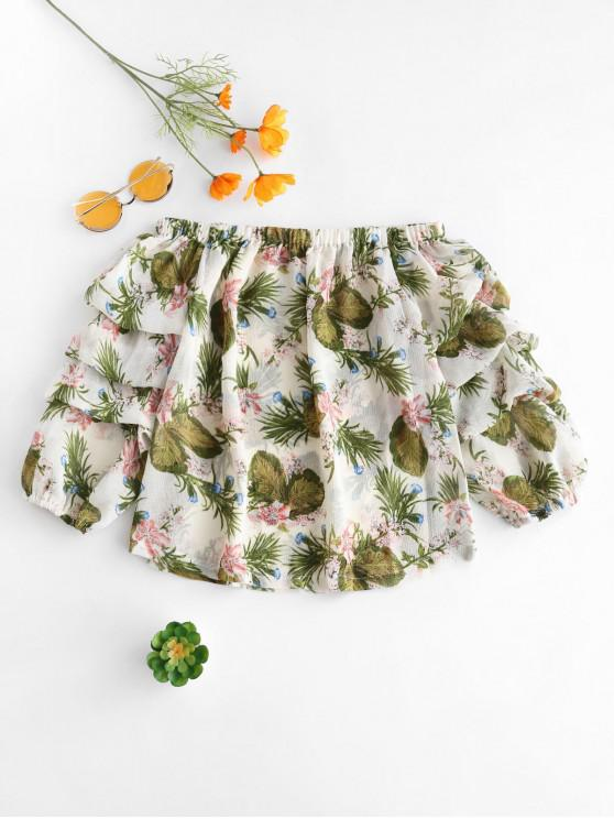 outfits Volume Sleeve Off Shoulder Floral Blouse - FERN GREEN XL