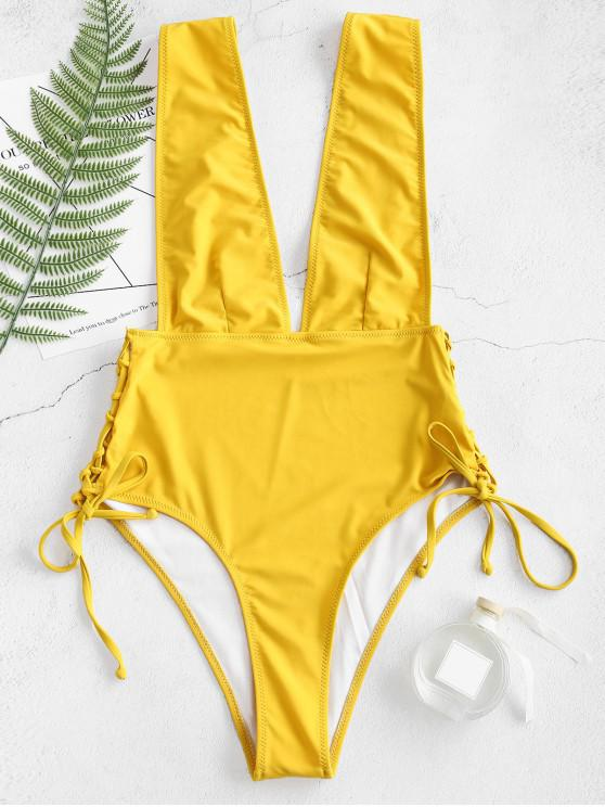 hot ZAFUL Plunging Lace Up Bralette Swimsuit - GOLDEN BROWN S