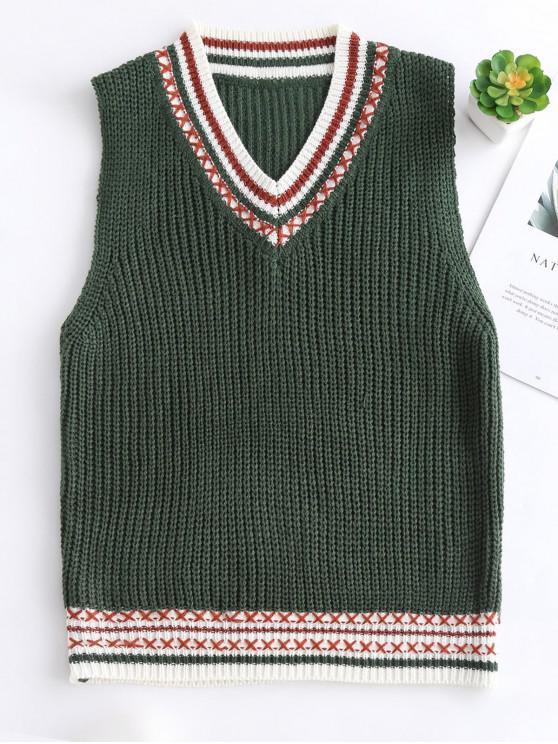 Contraste cuello en V chaleco de ajuste suéter - Verde Oscuro Talla única