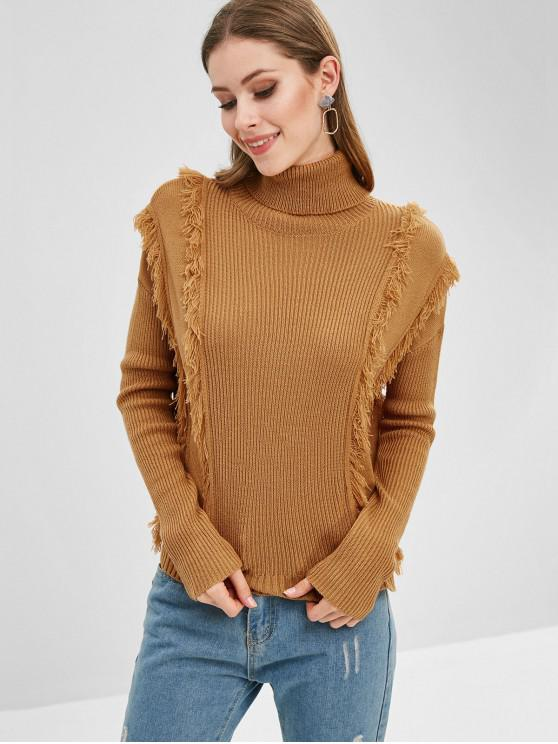 sale Fringed Turtleneck Drop Shoulder Sweater - BEE YELLOW L