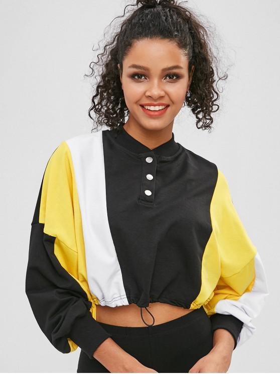 women's Color Block Drawcord Cropped Sweatshirt - BLACK M