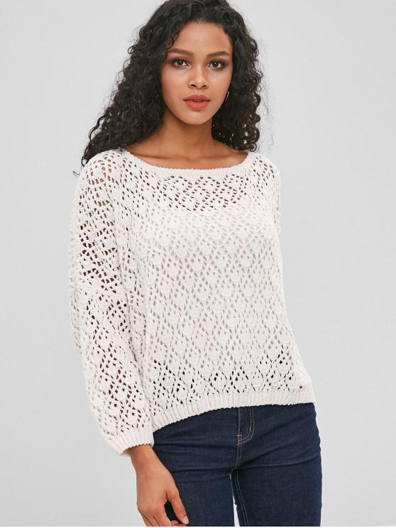 Suéter de chenilla calado de crochet - Blanco XL