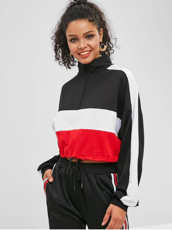 hot Tricolor Drawcord Pullover Cropped Sweatshirt - BLACK L