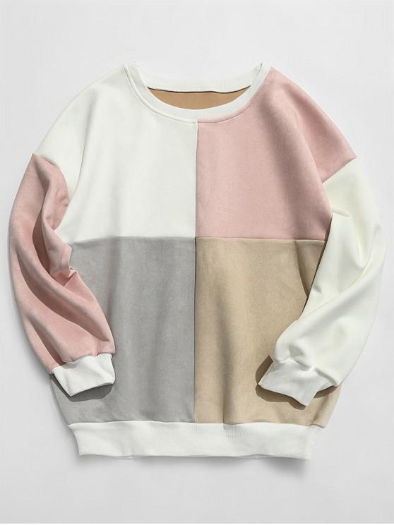 ZAFUL Sweat-Shirt en Daim et en Blocs de Couleurs - Multi-E 2XL