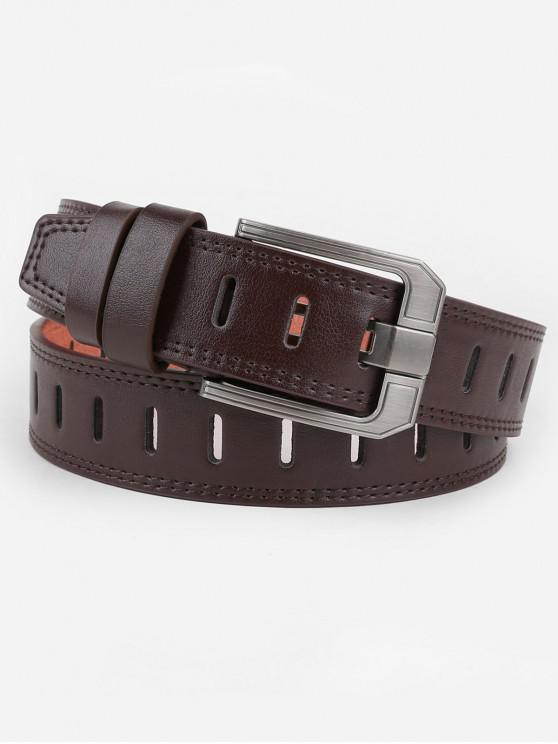 women Retro Hollow Out Faux Leather Waist Belt - COFFEE