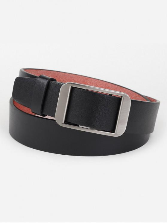 hot Silver Rectangle Buckle Artificial Leather Belt - BLACK