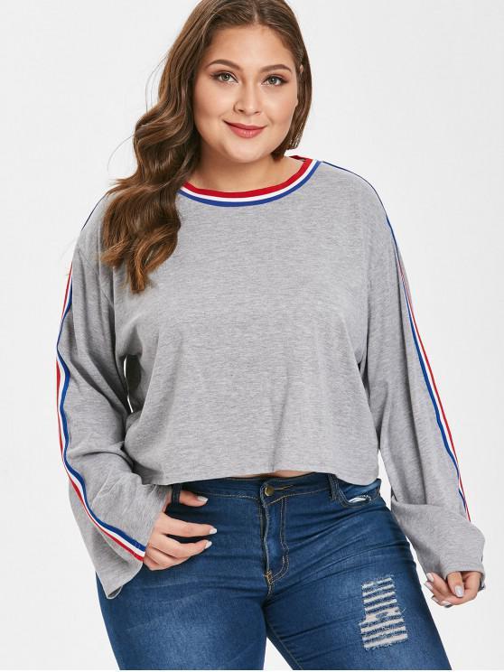 Полосатая футболка большого размера с нашивкой - Серый 1X