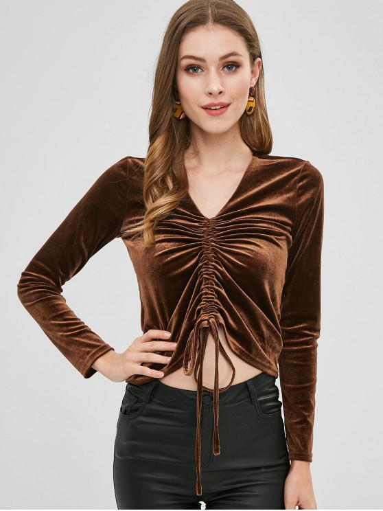 shops Velvet Cinched T-shirt - COFFEE L