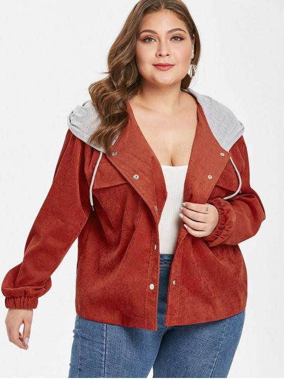 women's Hooded Plus Size Corduroy Jacket - BROWN 1X