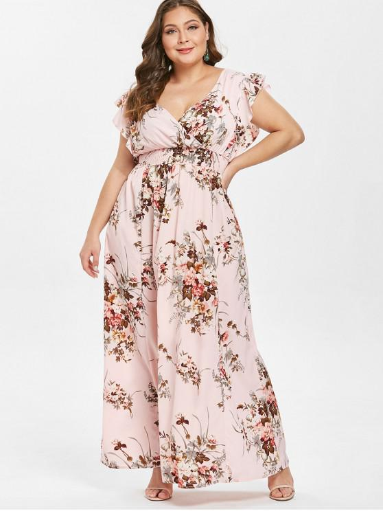 Babados Floral Plus Size Maxi Dress - Rosa 2X