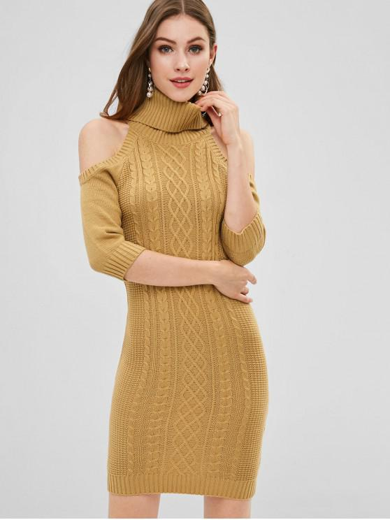 chic Cold Shoulder Cable Knit Sweater Dress - COOKIE BROWN L