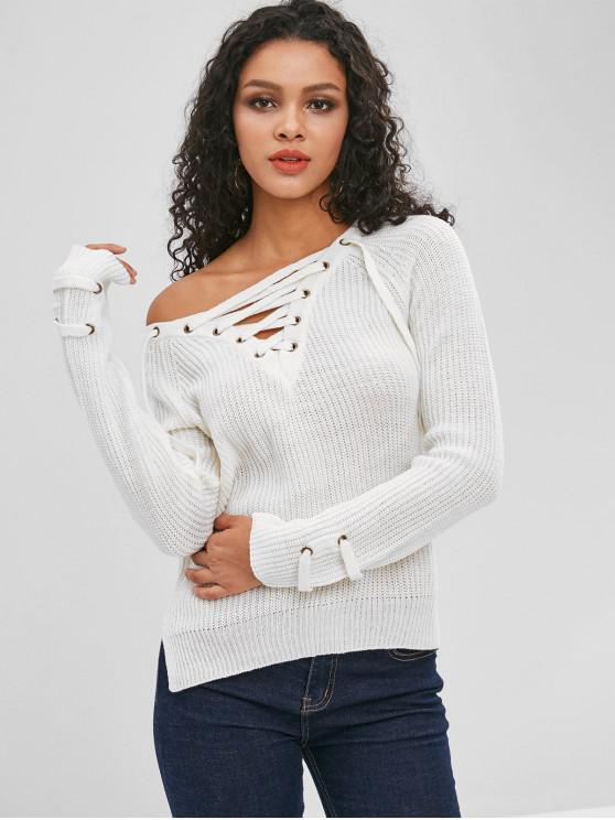 women's Lace Up Plain Side Slit Sweater - WHITE L