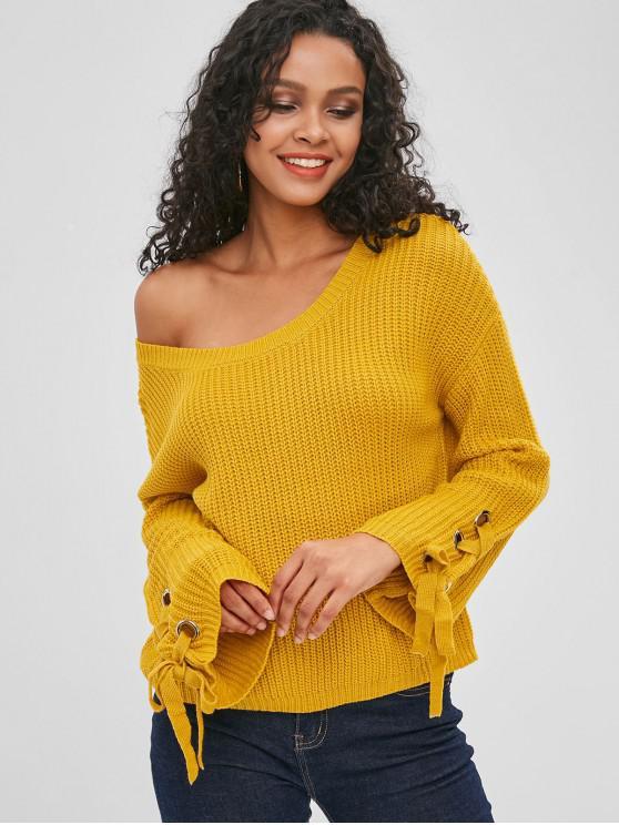 Skew cuello llano con cordones suéter - Amarilla de Abeja  M