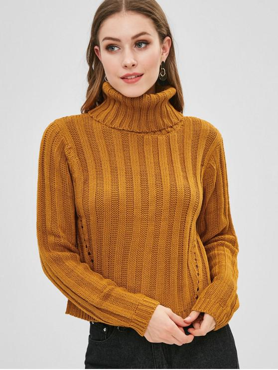 women's Turtleneck Eyelet Chunky Knit Sweater - SANDY BROWN M