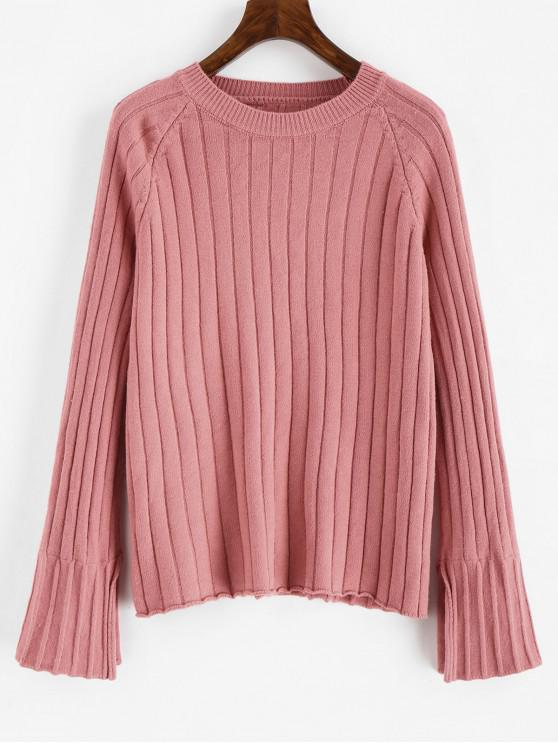 new Solid Color Raglan Sleeves Sweater - PINK ONE SIZE