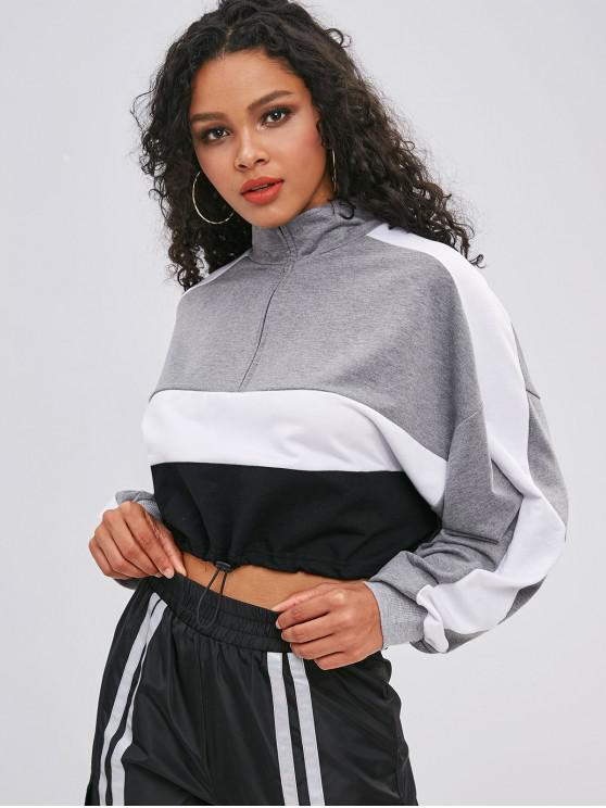 lady Tricolor Drawcord Pullover Cropped Sweatshirt - GRAY S
