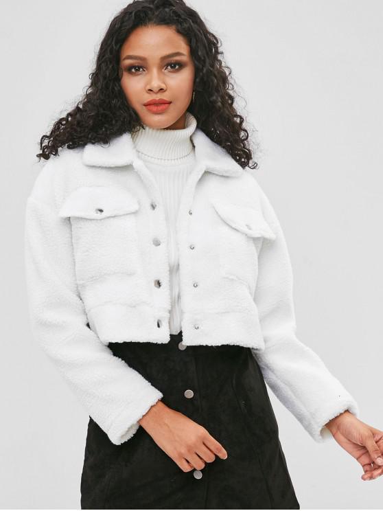 Abrigo de peluche de piel sintética con botones - Blanco L