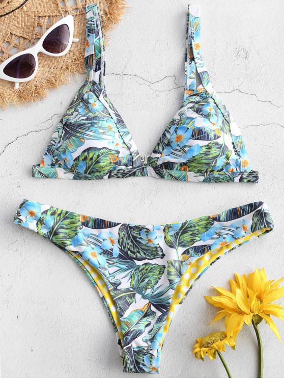 ZAFUL Bikini de Hojas de Flores - Multicolor-A L
