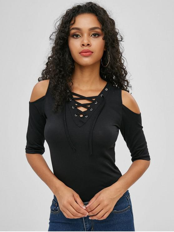 31095dad083000 28% OFF] 2019 Lace Up Cold Shoulder Top In BLACK | ZAFUL