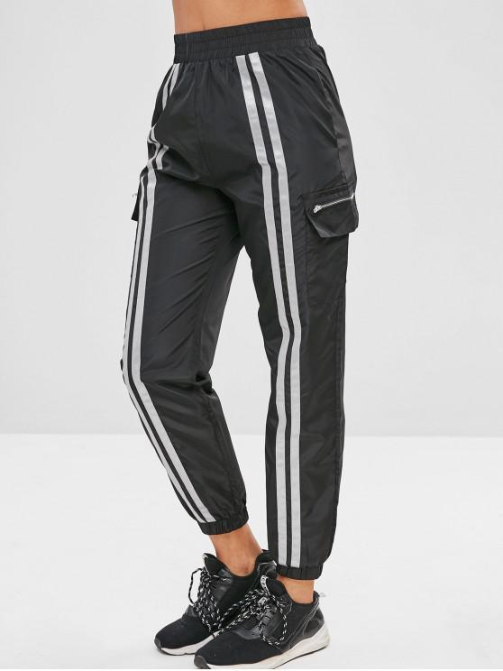 Pantaloni Da Jogging A Righe - Nero L