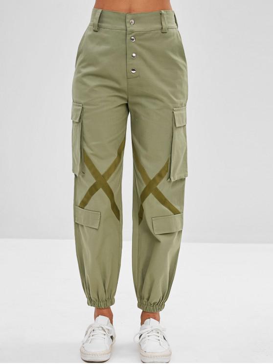 Calças de carga de cintura alta detalhe cruz - Verde de Mar Escuro L