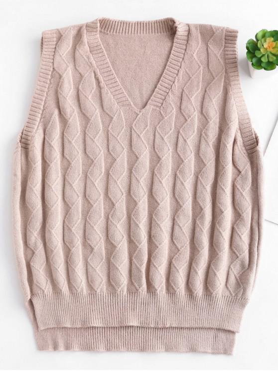 outfit V Neck Slit Knit Vest Sweater - APRICOT ONE SIZE