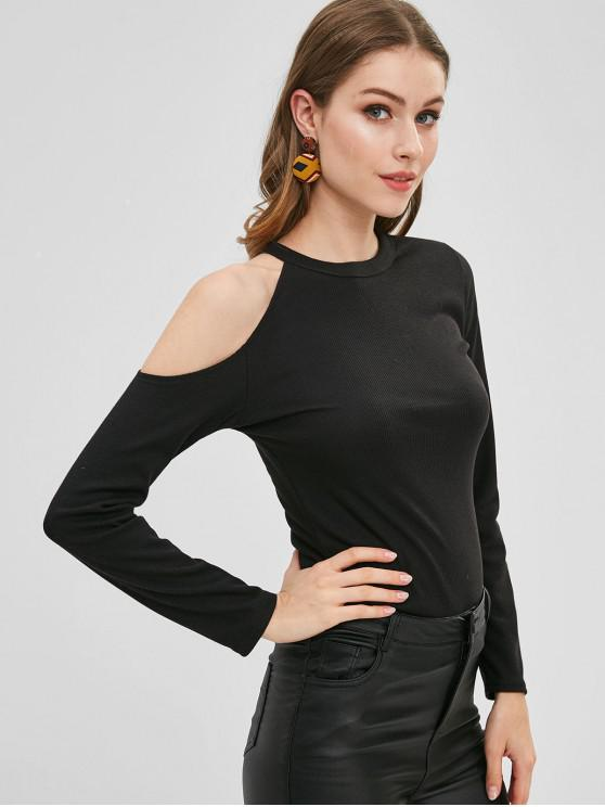 ladies Fitted Cold Shoulder T-shirt - BLACK XL