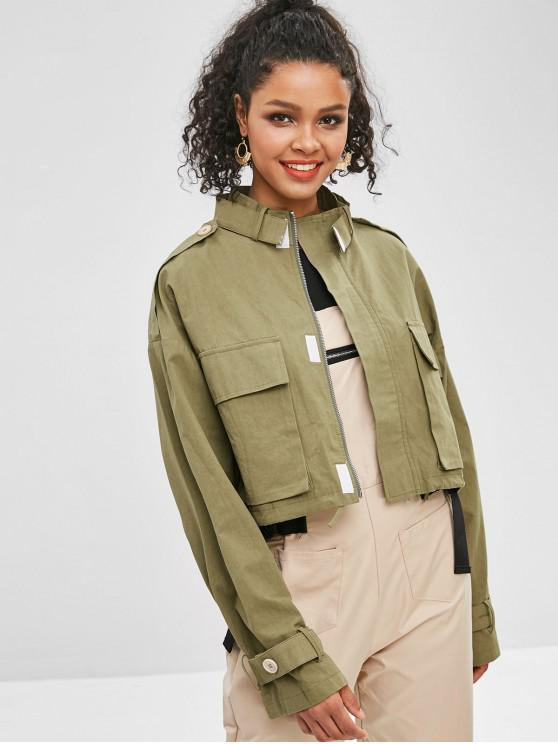 sale Patch Pockets Cropped Military Jacket - ARMY GREEN S